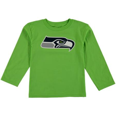 Seattle Seahawks Preschool Team Logo Long Sleeve T-Shirt - Neon Green
