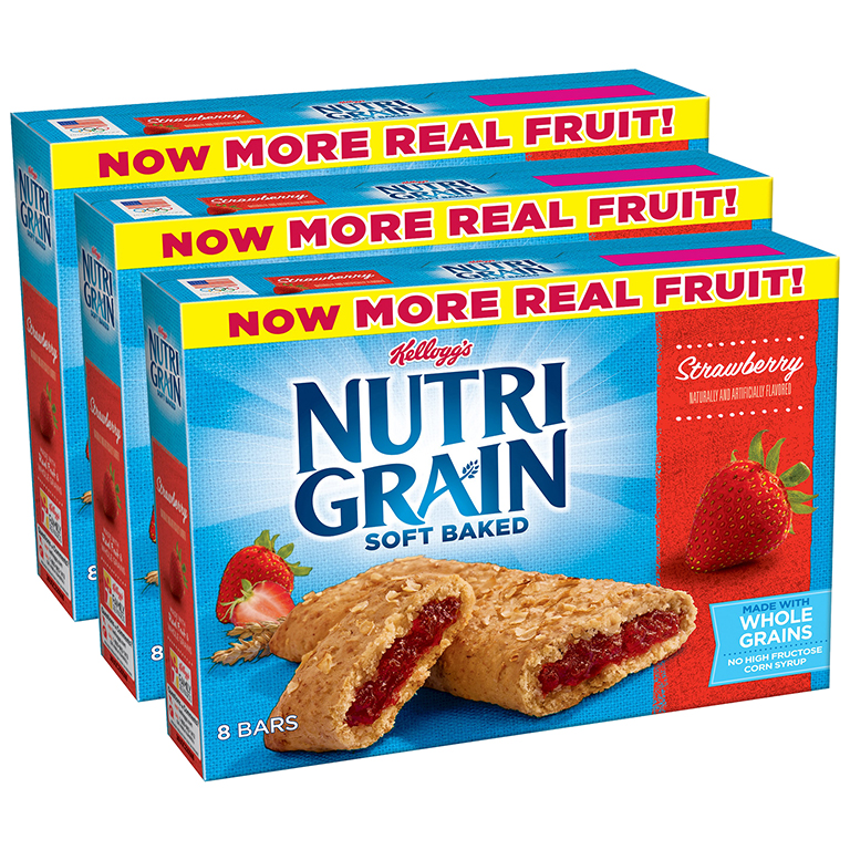 (3 Pack) Kellogg's Nutri-Grain Soft Baked Strawberry Breakfast Bars 8-1.3 oz. Bars