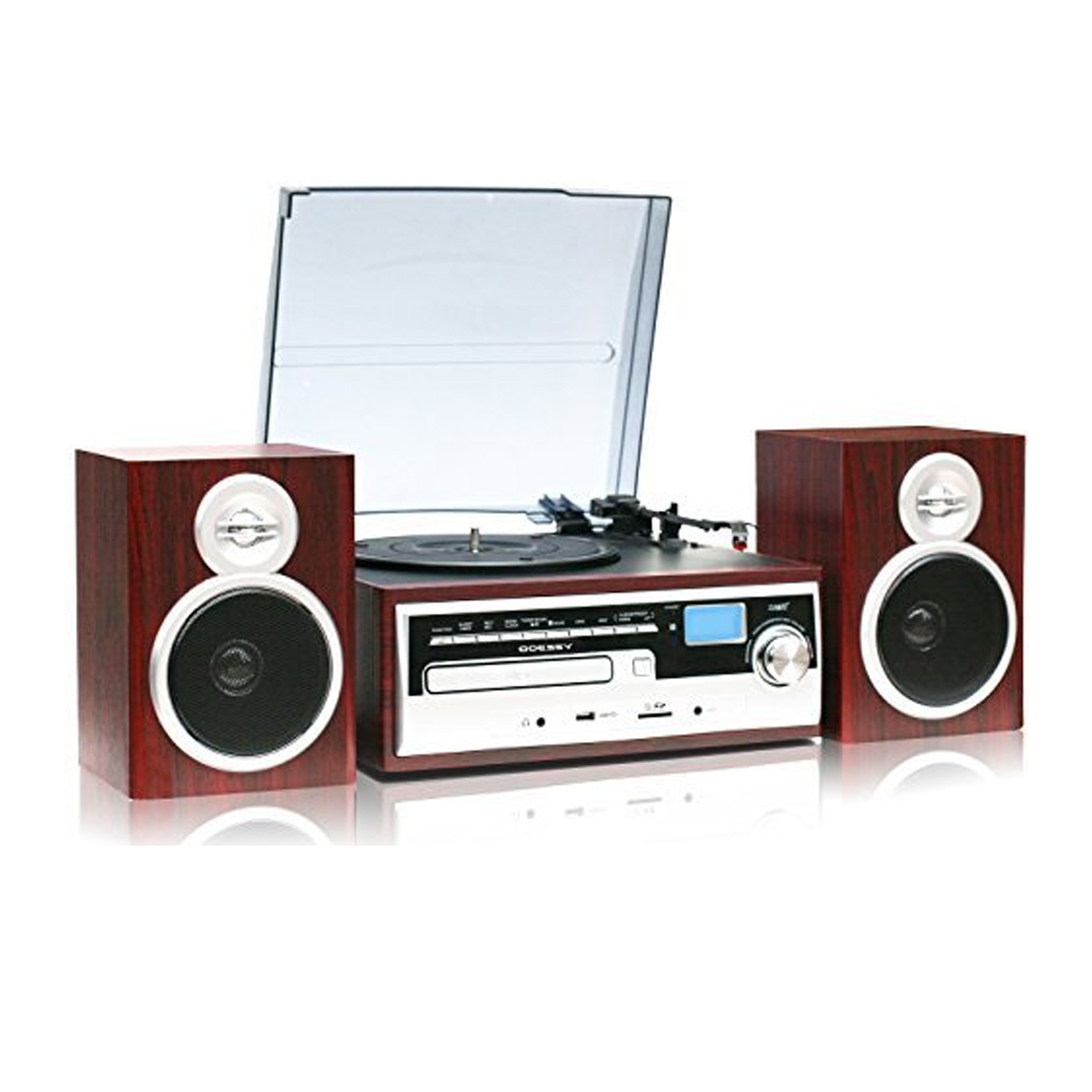 TechPlay 3 - Speed Turntable with CD  /  MP3  /  Cassette  /  SD Card  /  USB player, AM  /  FM Radio, AUX IN, Line out Alarm CLOCK, Remote and External Speakers -  Wood