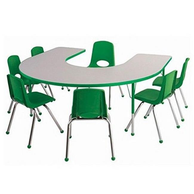 s 60 x 66 in. Horseshoe Activity Table Chunky Legs & Nine 10 in. Chairs, Ball Glides Gray & Green by GreatGames