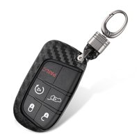 TSV Exact Fit Black Glossy Carbon Fiber Key Fob Shell Cover for 2011-2019 Dodge Charger 2014-2019 Dodge Durango 2014-2019 Jeep Cherokee