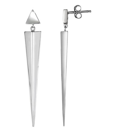 Ladies Sterling Silver 55MM Shiny Pointed Inverted Triangle Post Drop Earrings