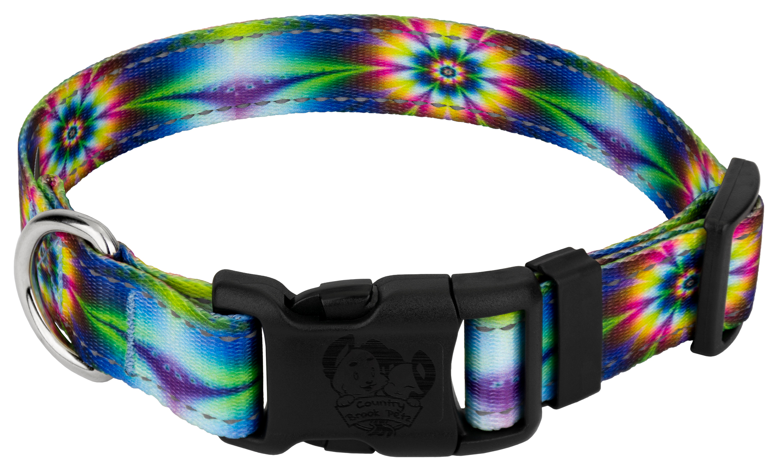 Country Brook Petz | Deluxe Tie Dye Flowers Reflective Dog Collar by Country Brook Petz