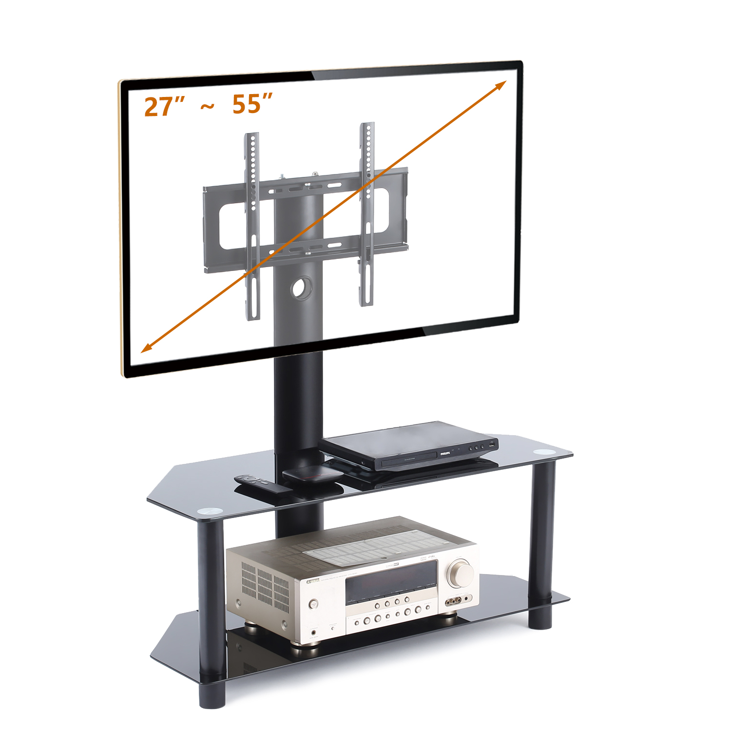 Rfiver Tv Stand With Swivel Mount And Height Adjustable Bracket For