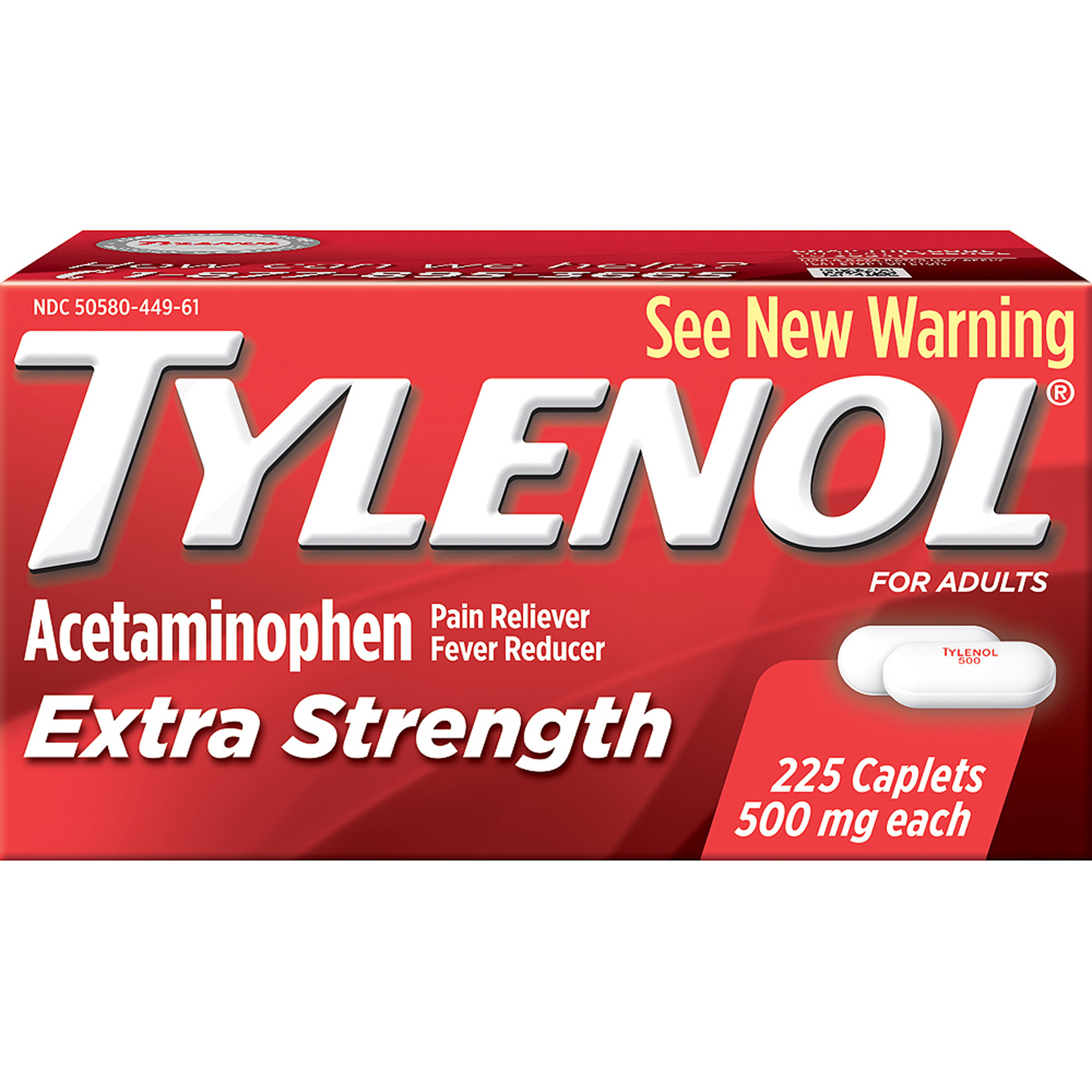 Tylenol Extra Strength Caplets, 225 ct