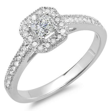 Dazzlingrock Collection 0.50 Carat (ctw) 10K Princess & Round Diamond Halo Style Engagement Ring 1/2 CT, White Gold, Size 8