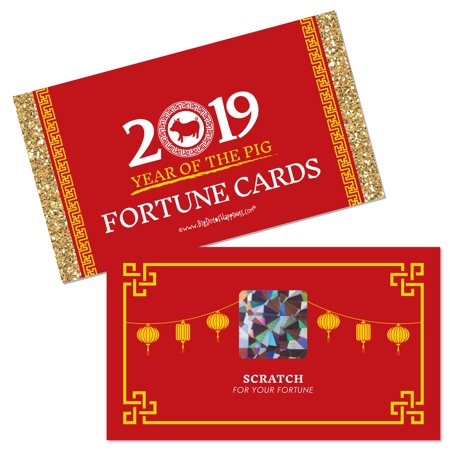 Chinese New Year - 2019 Year of the Pig Party Scratch Off Fortune Cards - 22 Count for $<!---->