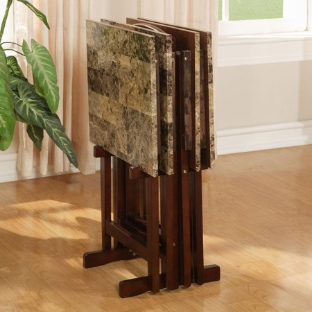 Linon Home Decor Products Inc Tray Table Set Brown Faux