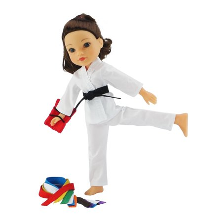 14 Inch Doll Clothes/Clothing | Karate Athletic Outfit Costume with All 9 Color Belts | Fits American Girl Wellie Wishers Dolls