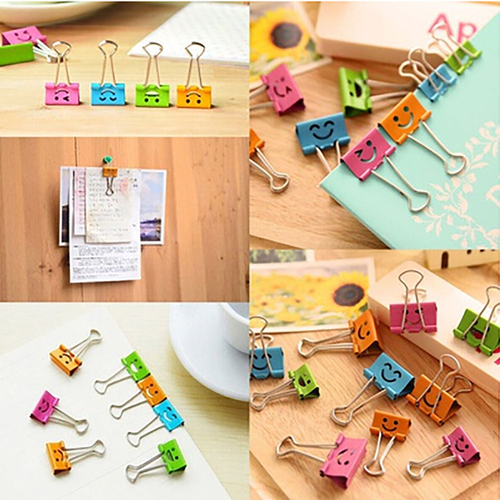 40Pcs Smile Metal Binder Clips For Home Office School File