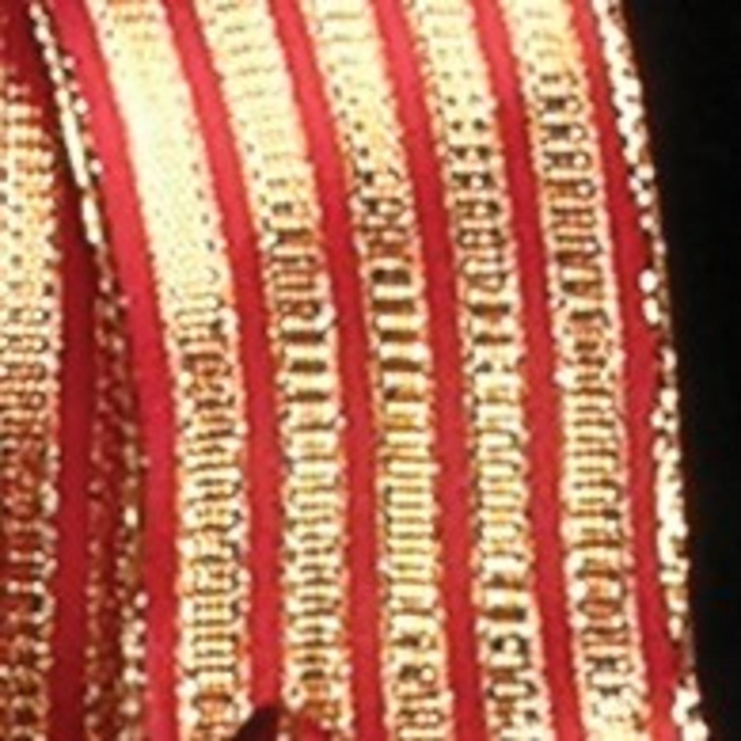 "Red and Gold Woven Holiday Stripes Wired Craft Ribbon 1.5"" x 27 Yards"