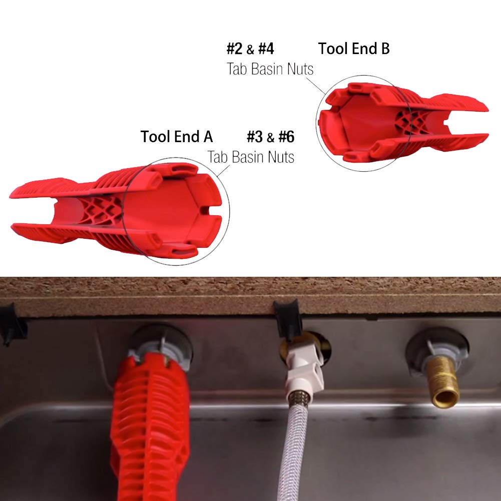 faucet and sink installer,multi-purpose wrench plumbing tool for Toilet Bowl//Sink//Bathroom//Kitchen Plumbing and more IRmm 8-in-1