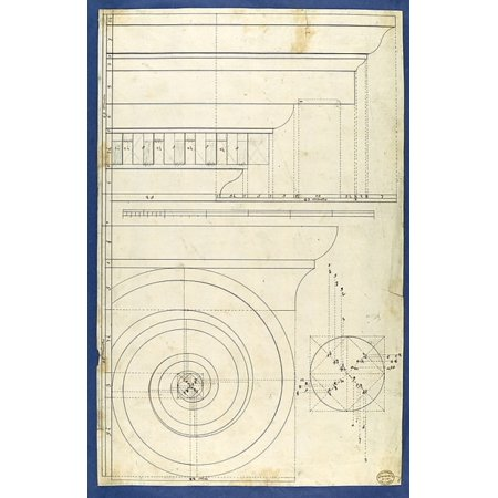 """Rule for Drawing the Spiral Lines of the Volute of the Ionic Order in Chippendale Drawings Vol I Poster Print by Thomas Chippendale (British baptised Otley West Yorkshire 1718  """"1779 London) (18 x 24)"""