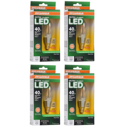 Halloween Candelabra Led (Sylvania Filament LED 40W Candelabra Base Dimmable 2700K Light Bulb (4)