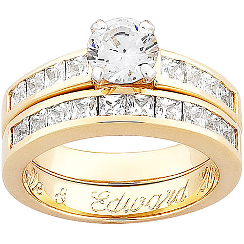 Personalized Engraved Two-Piece Sterling Silver with 18kt Gold Overlay and Cubic Zirconia Wedding Set by