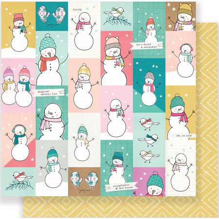 American Crafts Crate Paper Snow And Cocoa Collection 12 X 12 Double Sided Paper Lets Play
