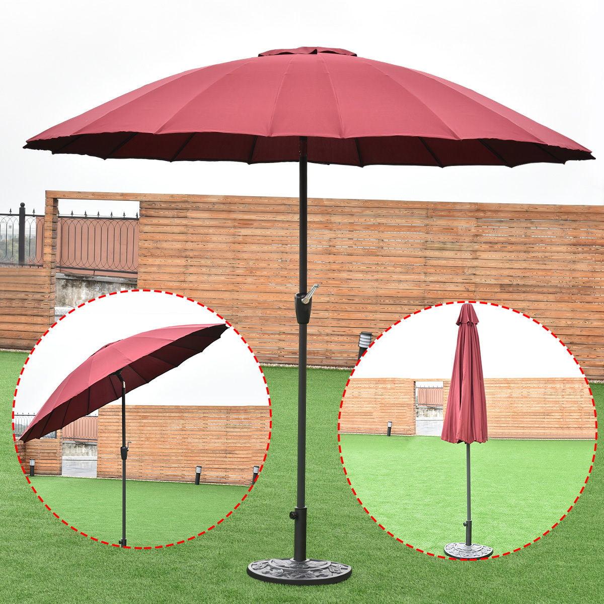 Costway Outdoor 9ft Patio Umbrella Sunshade Cover Market Garden Cafe Crank Tilt Burgundy