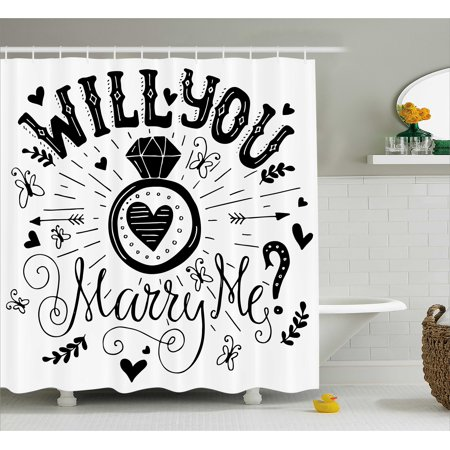 Engagement Party Decorations Shower Curtain, Western Themed Will YOu Marry Me Quote with Hearts Image, Fabric Bathroom Set with Hooks, 69W X 70L Inches, Black and White, by Ambesonne - Western Themed Parties