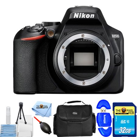 Nikon D3500 24.2MP DSLR Camera (Body Only) 33895 Starter Bundle with 32GB SD, Memory Card Reader, Gadget Bag, Blower, Microfiber Cloth and Cleaning