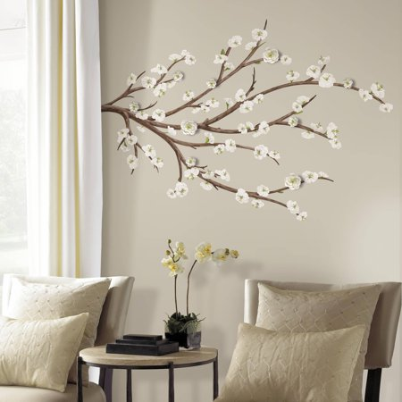 Roommates White Blossom Branch Peel and Stick Giant Wall Decals with Flower Embellishments](Cheap Wall Decals)