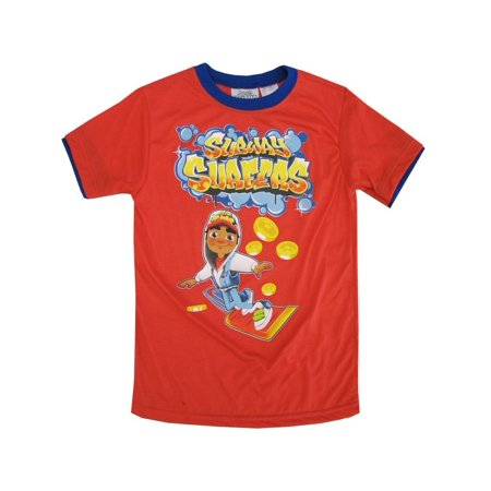 Subway Surfers Little Boys Red Yellow Character Print Short Sleeved Tee 4-7 - Subway Surfers Halloween