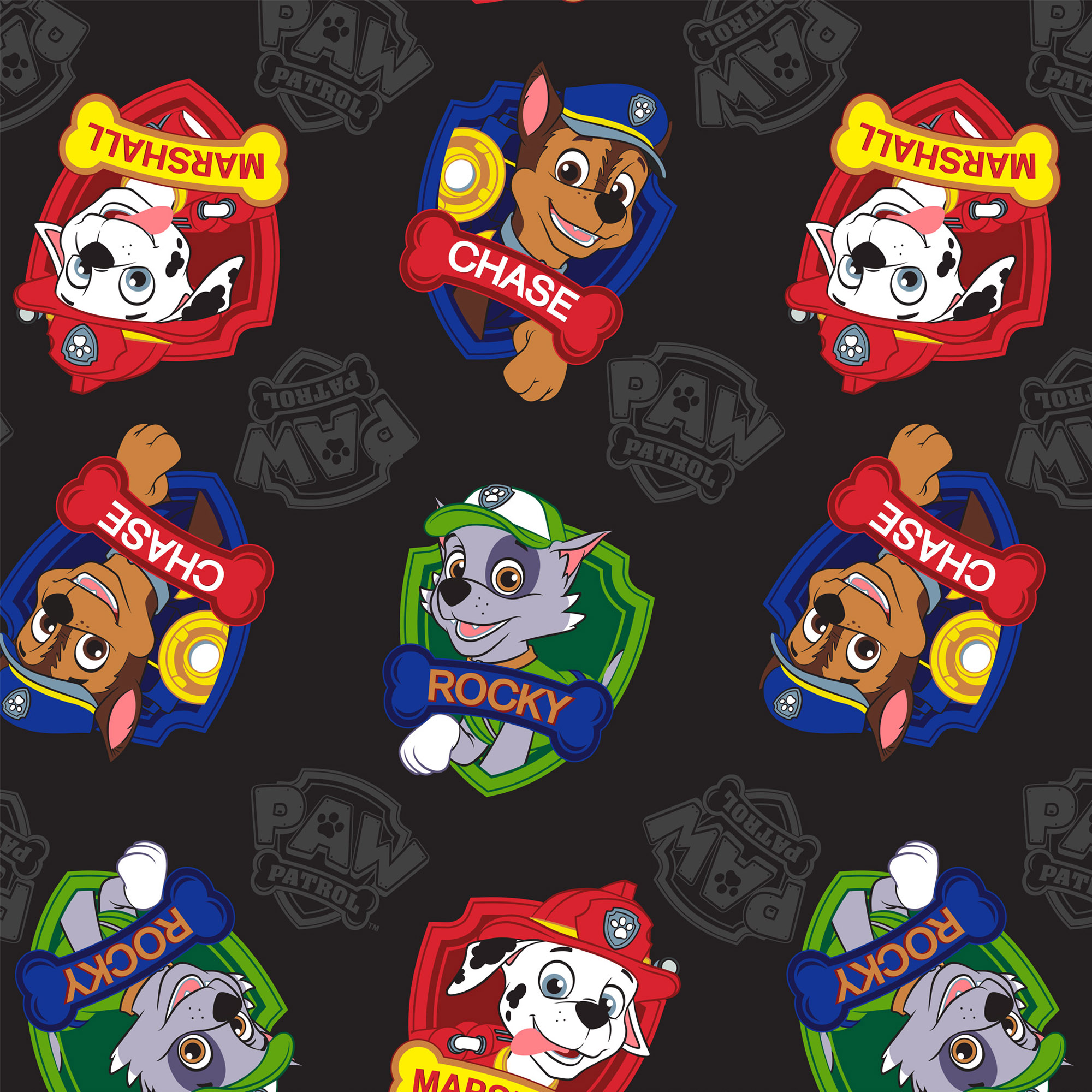 "David Textiles Paw Patrol Heavenly Plush 54"" x 60"" Pre-Cut Marshall, Rocky, & Chase Fabric, 1 Each"
