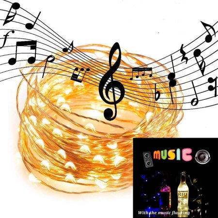 Gliving Waterproof Led String Lights Sound Activated Music