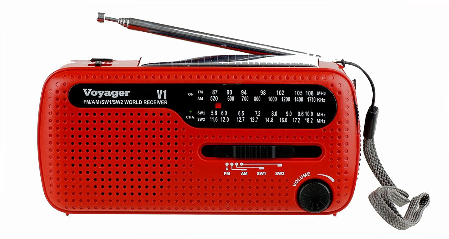 Kaito V1R Voyager Solar Dynamo AM FM SW Emergency Radio with Cell Phone Charger and 3-LED Flashlight Red by Kaito