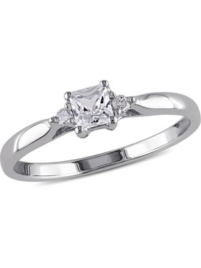 1/3cttw Princess-Cut Created White Sapphire and Diamond Accent Promise Ring in Sterling Silver