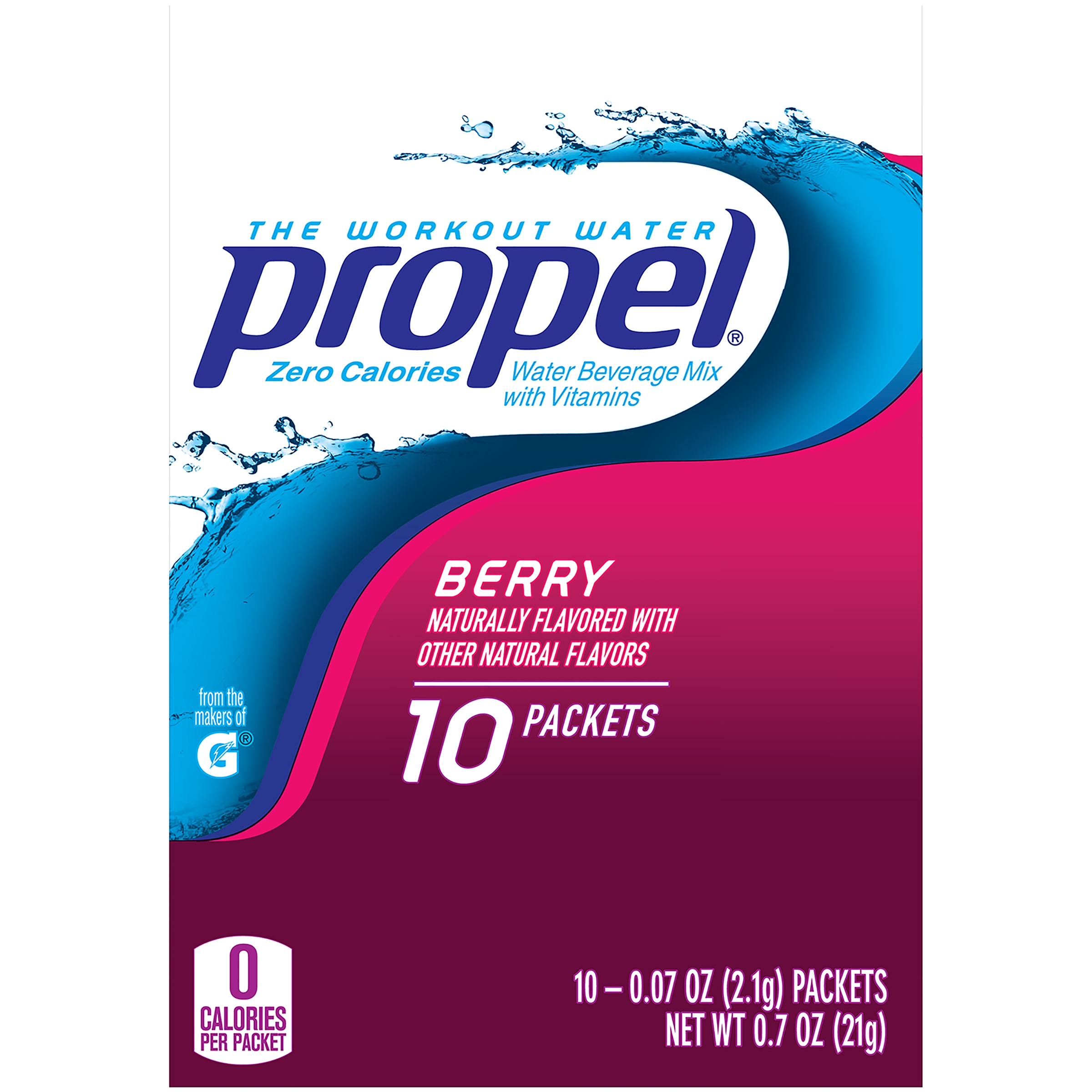 Propel Drink Mix, Berry, .07 Oz, 10 Packets, 1 Count