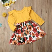 Toddler Kids Baby Girls Holiday Casual Party Sunflower Floral Dress Sundress