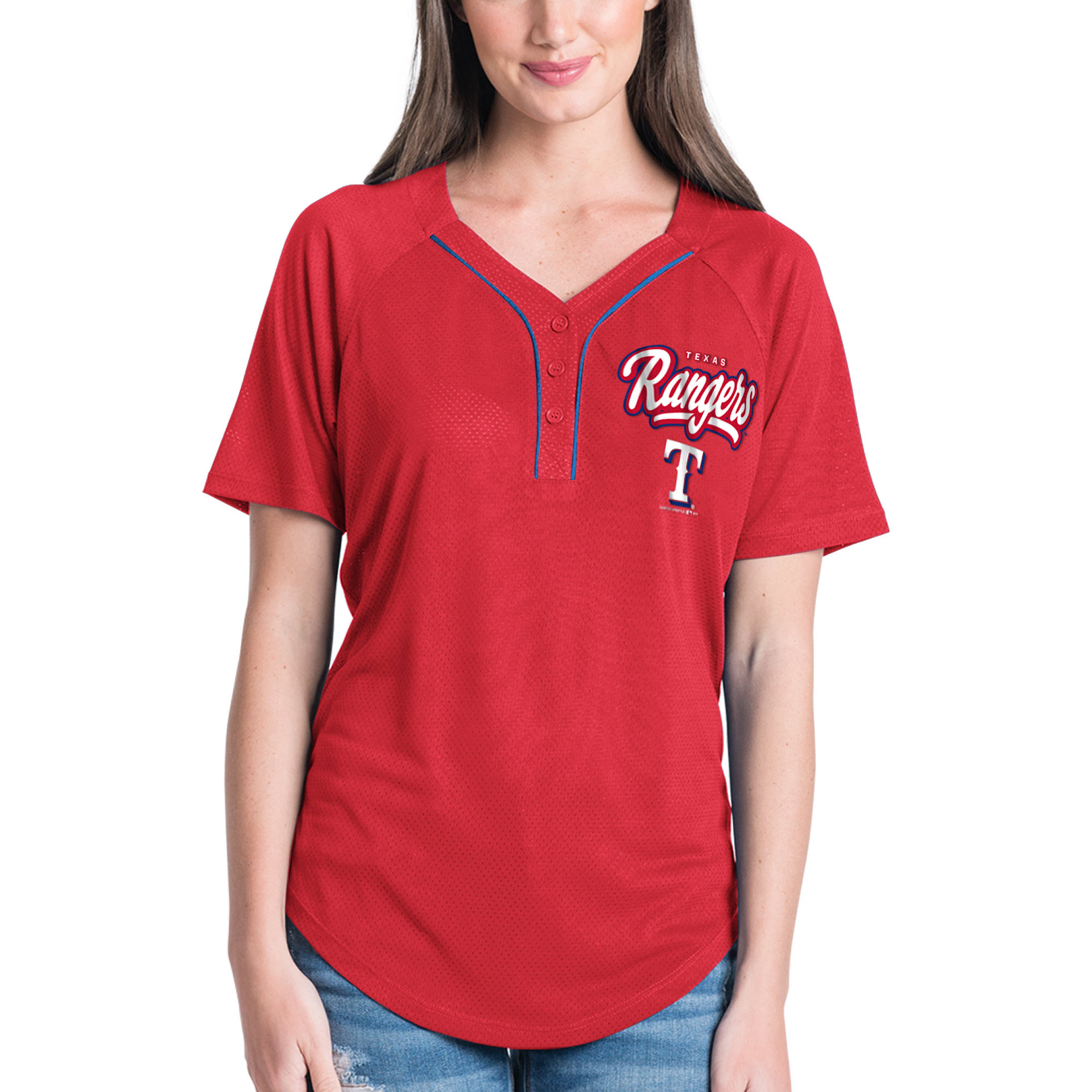 Women's New Era Red Texas Rangers Henley Mesh Jersey T-Shirt