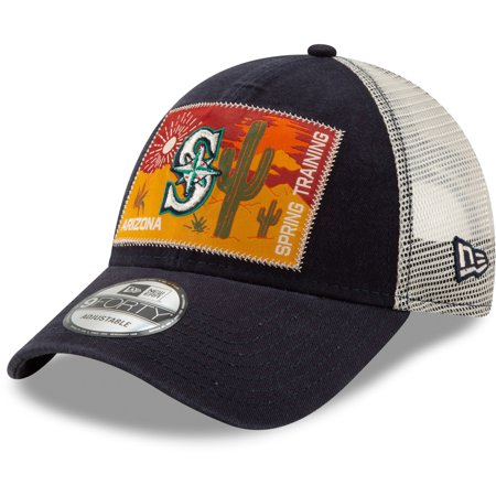 best service 6f6e9 f6c9c Seattle Mariners New Era Patched Trucker 3 9FORTY Adjustable Snapback Hat -  Navy White - OSFA - Walmart.com
