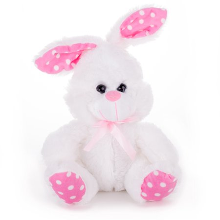 Veil Entertainment Fuzzy Stuffed Easter Bunny Rabbit w Ribbon 15