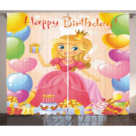 Birthday Decorations for Kids Curtains 2 Panels Set, Birthday Girl Princess Themed Image with Hearts and Balloons, Window Drapes for Living Room Bedroom, 108W X 90L Inches, Multicolor, by Ambesonne (Princess Birthday Theme)