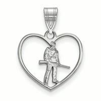 LogoArt Sterling Silver West Virginia University in Heart Pendant Necklace