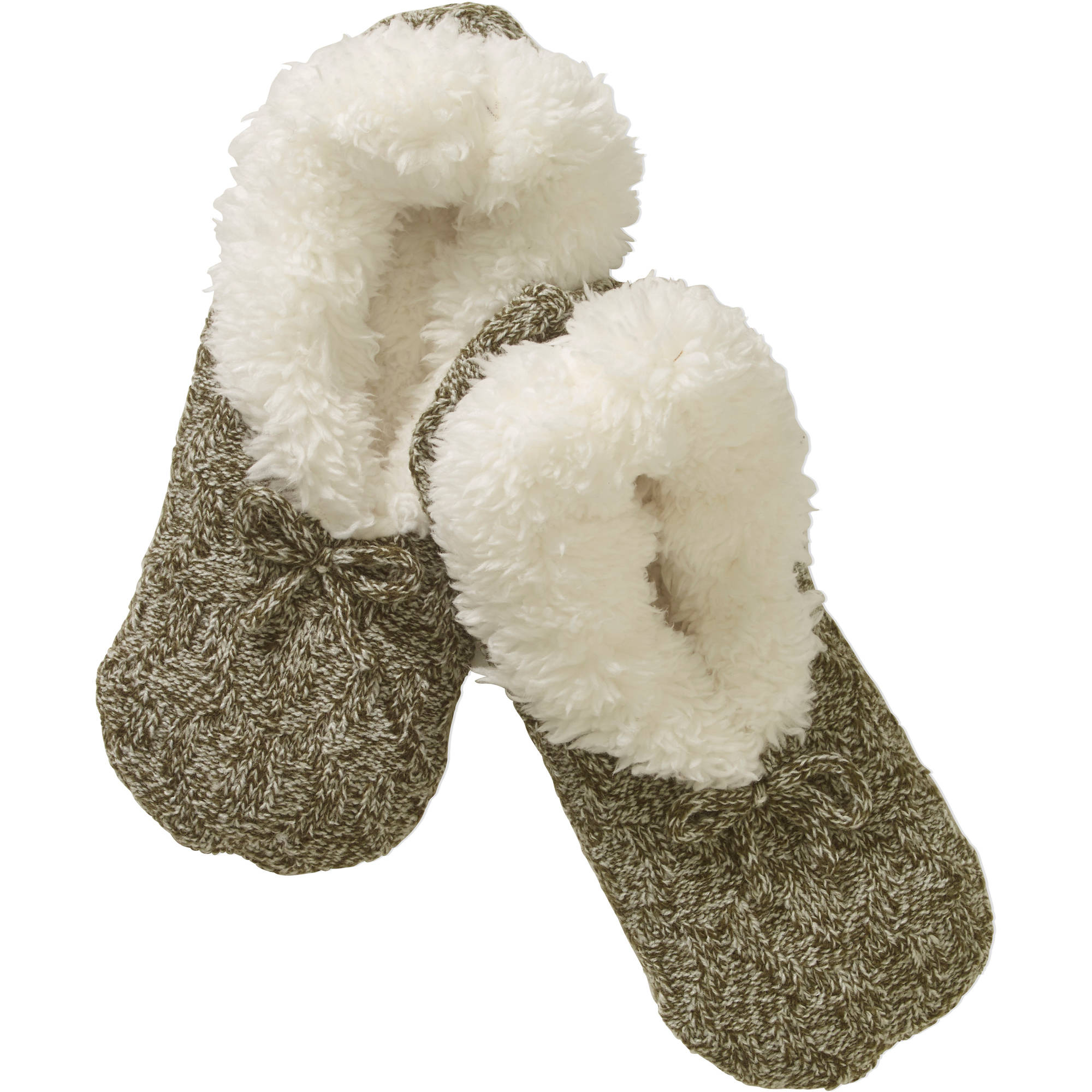 Teddy Fur Marled Cable Knit Slipper Socks with Bow
