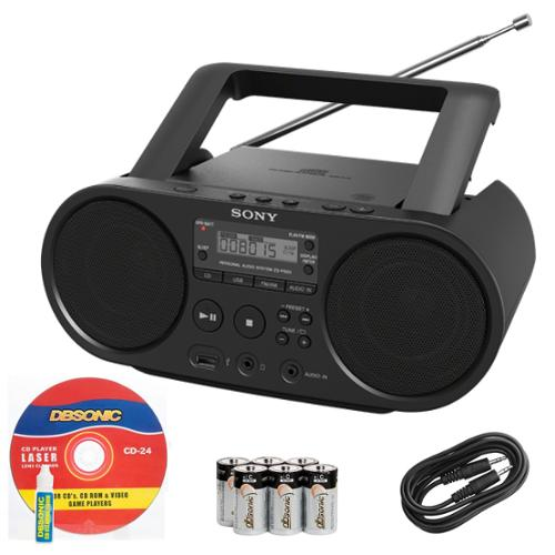 Sony Portable Full Range Stereo Boombox Sound System w/ MP3 CD Player, AM/FM Radio, 30 Presets, USB Input, Headphone & AUX Jack + DB Sonic Accessories