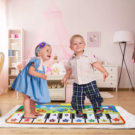 Piano Mat, Soft Baby Early Education Portable Music Piano Keyboard Carpet, Safe Electronic Keyboard Play Blanket, Colorful Dance Mat-Piano Toys Great Music Toy for