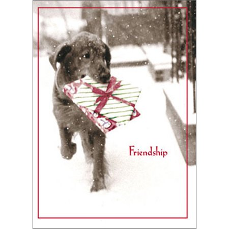Avanti Press Dog Carrying Present In Snow Funny / Humorous Black Lab Christmas Card ()