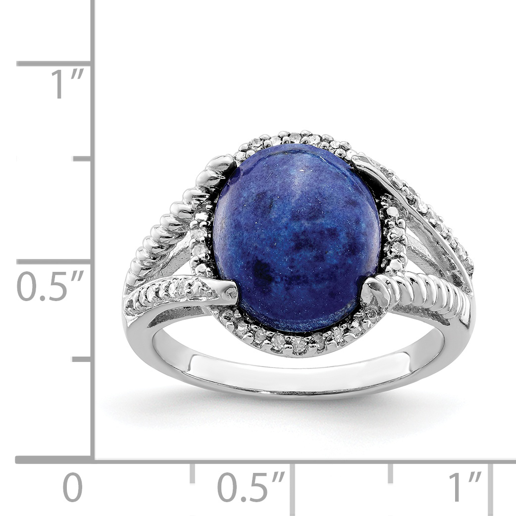 925 Sterling Silver Lapis Diamond Band Ring Size 8.00 Gemstone Fine Jewelry Gifts For Women For Her - image 1 of 2