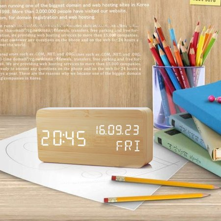 Wooden LED Alarm Digital Desk Clock 3 Levels Adjustable Brightness, 3 Groups of Alarm Time, Displays Time Date Temperature USB Charging - Bamboo (White Light)](Date Of Halloween 2017 Usa)