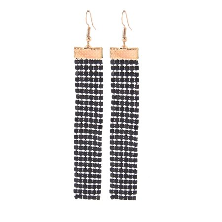 Fashion Jewelry Long Shiny Sequin Cluster Dangle Earrings Pair Black Gold Tone