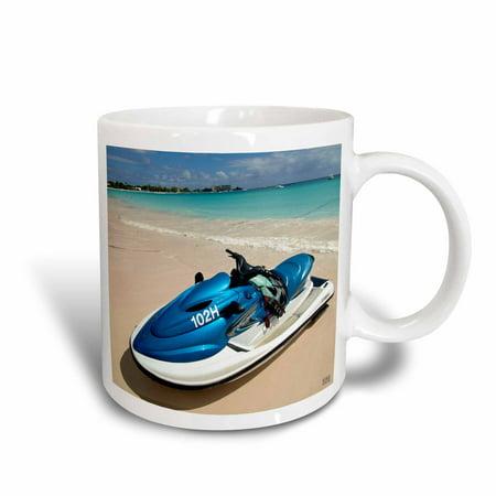 3dRose Jetski on the Beach at Boat Yard Beach Resort, located next to Bayshore Carlisle Bay in Bridgetown., Ceramic Mug, (The Bay Bayshore Mall)