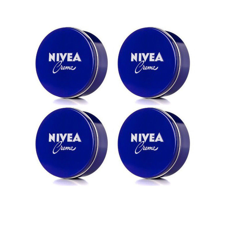 4 Pack Nivea Moisturizing Body Creme 400ml (13.5 fl oz.) Blue Tin Box Cream