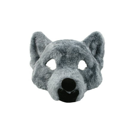 Rubber Face Masks Halloween (Adult Big Bad Wolf Plush Half Face Mask Animal Halloween Costume)