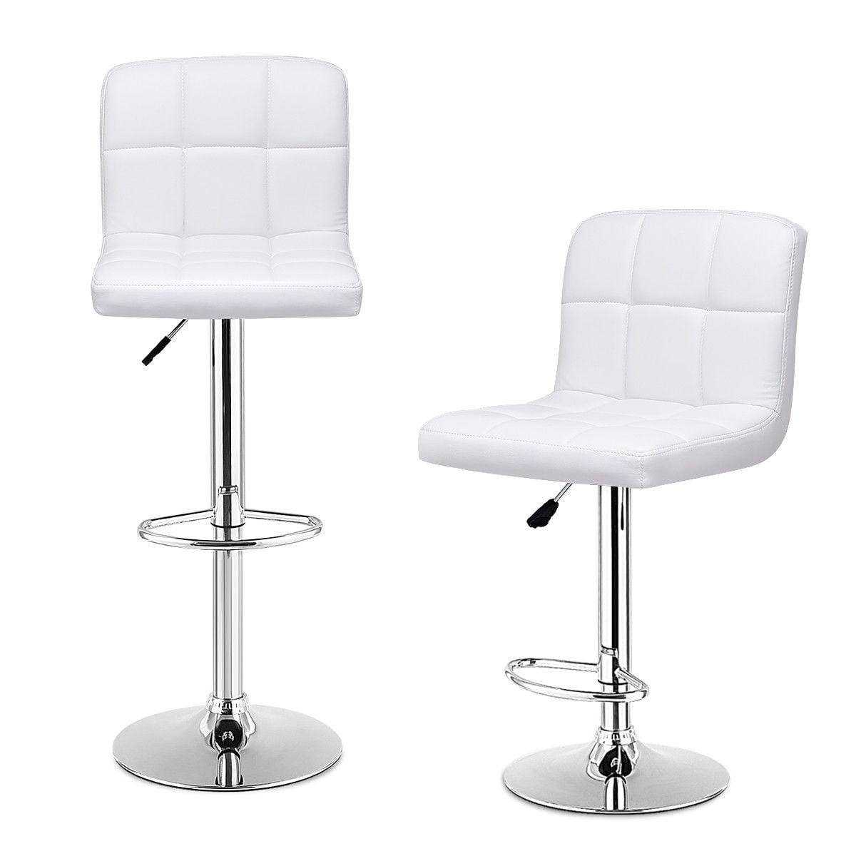 Set Of 2 Bar Stools PU Leather Adjustable Barstool Swivel Pub Chairs White - image 5 de 10
