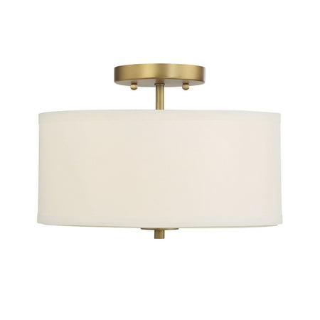 Natural Brass 2 Light - 2-Light Natural Brass Semi Flush Mount with White fabric