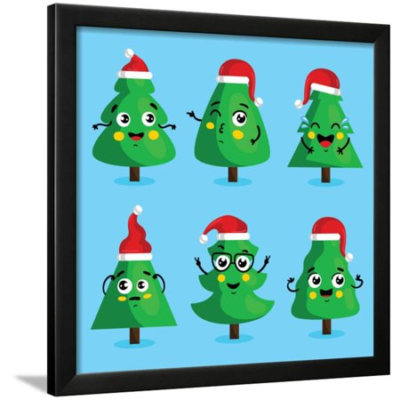 Christmas Tree Icon.Funny Christmas Tree And Vector Christmas Tree On White Background Cartoon Christmas Tree Icon And Framed Print Wall Art By Studioworkstock