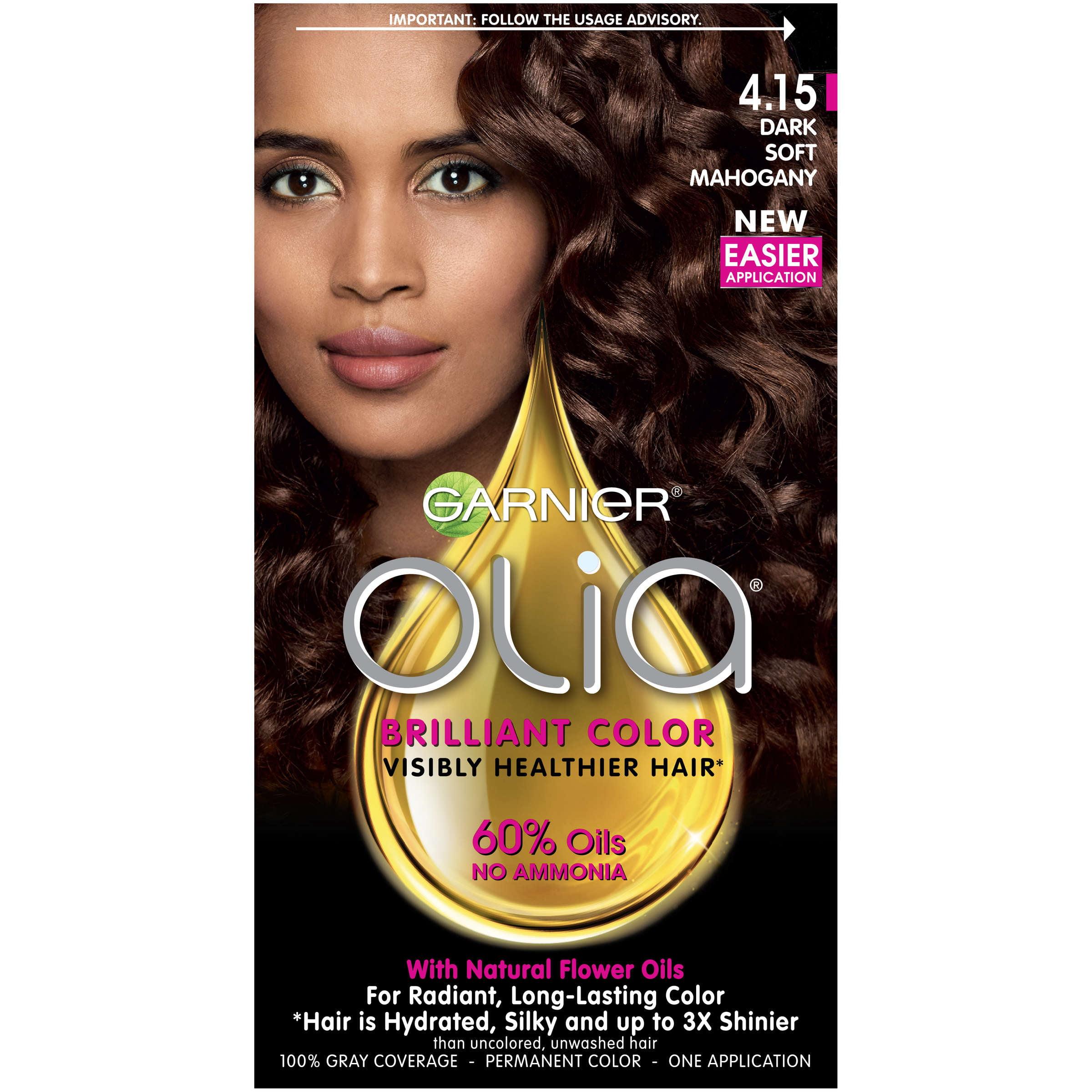 Garnier Olia Oil Powered Permanent Hair Color, 4.15 Dark Soft Mahogany, 1.0 CT